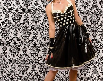 CL design LaTeX corsets polka dots dress sexy feminine Fiftie's Halter dress rockabilly retro rubber
