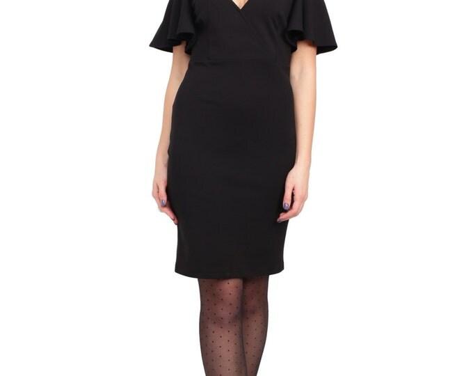 Pencil Red Dress, Black Dress, Ruffled Sleeve Dress, Open Shoulder Dress, Cocktail Dress