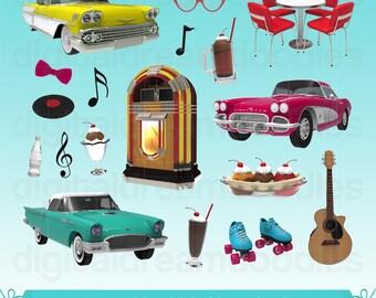 Diner Clipart, 50s Diner Clip Art, Retro Clipart, Jukebox Clipart, Sundae Graphic, Classic Car Images, Root Beer Float Art, Digital Download