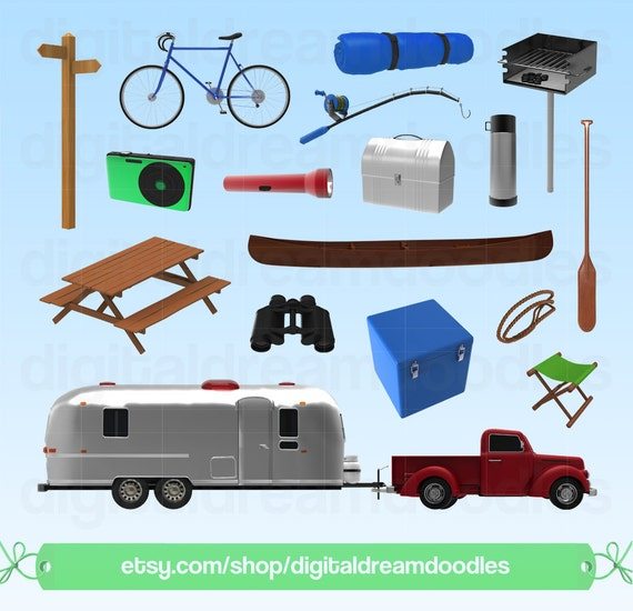 Camper Clipart Vintage Retro Caravan Graphic Airstream Trailer Image Silver Bullet PNG Scrapbooking Digital Download From