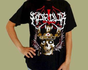 Marduk band t-shirt rock heavy metal music tshirt skull shirt black death metal front back print cotton t-shirt vintage 90s size L