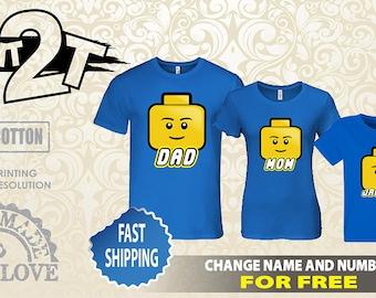 Lego Faces Family SET, Custom Name and Number Lego Birthday Shirt
