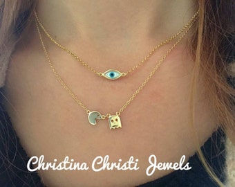 Evil Eye Necklace Gold, Dainty Evil Eye Necklace, Gold Evil Eye Necklace, Pac Man Necklace, Gold Pac Man Necklace, Gold 24k Necklaces.