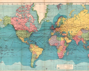 World map printable digital download 1922 vintage world map world map printable digital downloadntage world map old world map vintage art sciox Image collections