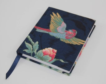 A6 Sketchbook Hand Covered with a vintage floral bird fabric, reclaimed from a pair of curtains