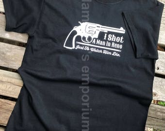 Johnny Cash Folsom Prison Blues T-shirt Country Music Shot a Man in Reno Sparkly and Glitter