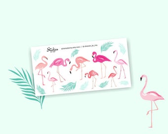 Flamingo Planner Stickers / Decorative Stickers / Spring Stickers | T8
