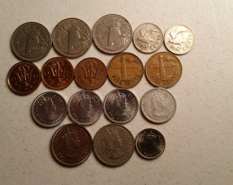 17 belize & barbados vintage coins 1973 - 1989 coin lot cents - world foreign collector money numismatic a30