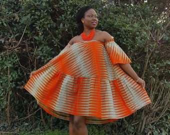 Sale !!!Orange  Off Shoulder Ankara Dress/ African Print Bardot Style Dress/ African print Dress