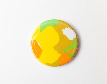 Yellow Abstract Flowers - A Pocket Mirror made from Vintage Fabric, 58mm 2.3 Inches, Vintage Floral
