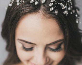 Wedding Shiny Crystal Hair Vine, Hair Crystal Vine, Long Hair Accessories, Crystal Long Vine, Bridal Crystal Hair piece
