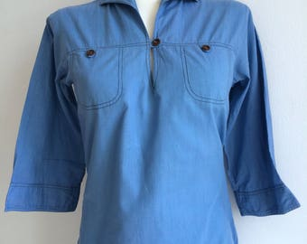Women's light blue sailor shirt with 3/4 length sleeves