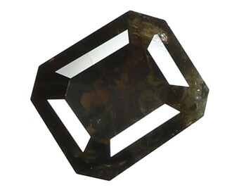 1.18 Ct Natural Loose Diamond Cut Emerald Shape Green Brown Color 6.60X5.64X3.11 MM N2473