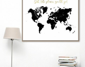 Oh the places you'll go. World map vector/ printable black world map/ poster world map/ Scandinavian decor/ minimalist  map.
