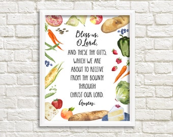 Grace Before Meals Bless Us O Lord Prayer 8x10 Printable Wall Art Watercolor Food Meal