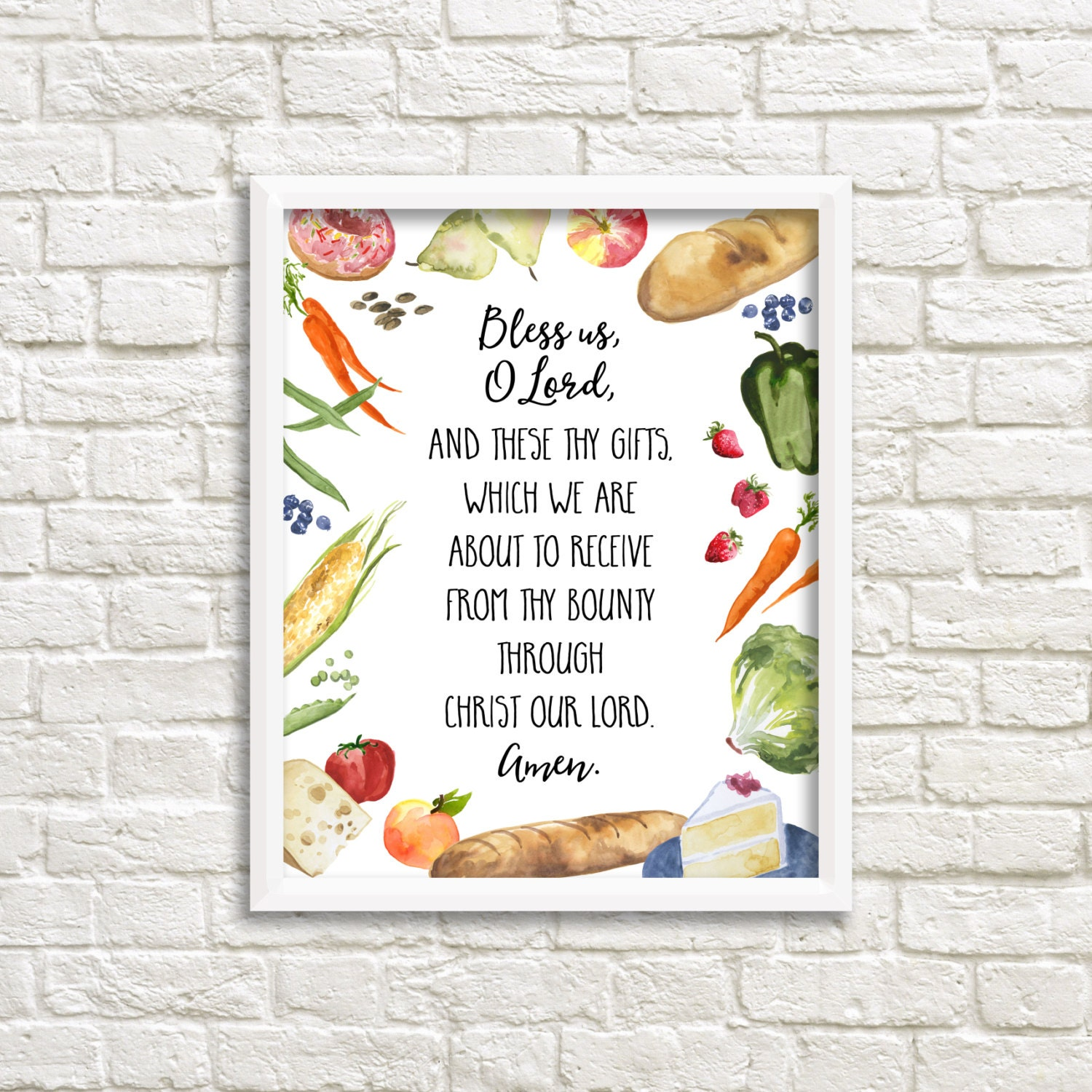 Christian kitchen decor - Grace Before Meals Bless Us O Lord Prayer 8x10 Printable Wall Art Watercolor Food Meal