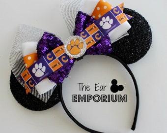 South Carolina Clemson Tigers Inspired Minnie/Mickey Mouse Ears Headband