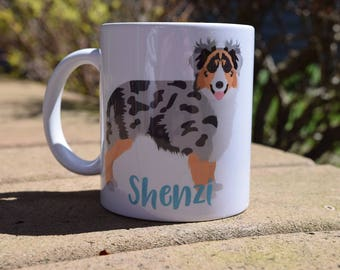 Australian Shepherd Mug, Pet lover gift, Pet Coffee Mug, Custom pet Mug, Pet Lover Mug, Aussie dog mug, Gift, Dog Mug, 11oz Mug, Merle Mug