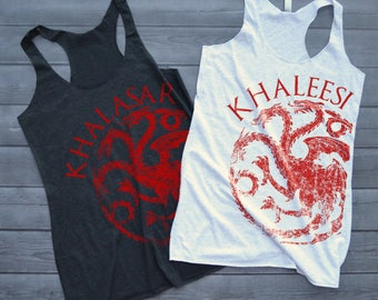 Khaleesi and Khalasar Game of Thrones Bachelorette Tanks - Targaryen Bride and Tribe