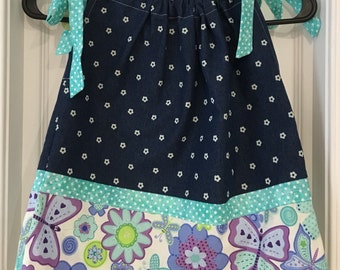 Denim and Flowers Pillowcase Dress Handmade 12 Month Girls Dress, Girls Pillowcase Dress, 12 Month Girls Clothes Pilllowcase Dress