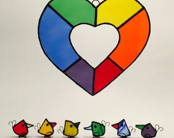 Rainbow Heart Stained Glass Heart