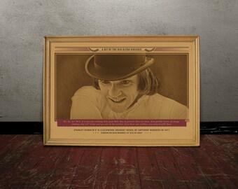 Alex Delarge, A CLOCKWORK ORANGE, Kubrick, Monochrome retro classic movie poster