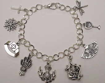 SALE! Outlander by Diana Gabaldon / CONTEMPORARY FICTION / Nurse Thistle Bagpipe Chalice Dragonfly / Antique Silver Multi Charm Bracelet