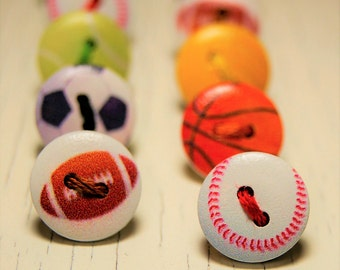 Cute sports themed button thumb tacks / push pins - 1 set of 18