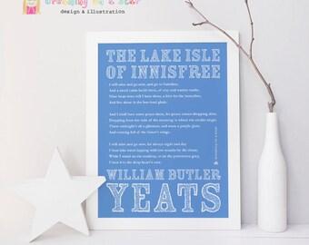 WB Yeats Art Print, Yeats Print, Lake Isle of Innisfree, Irish Poetry, Irish Art, Poetry Art, Irish Print, Wall Art, Type Poster, Wall Decor