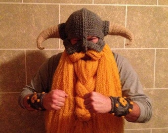 Hand Crocheted Skyrim Inspired Helm and Beard, Viking Hat and Beard