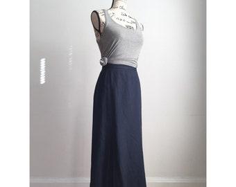 Vintage Navy Blue Skirt, Long Vintage Skirt, Modest Skirt