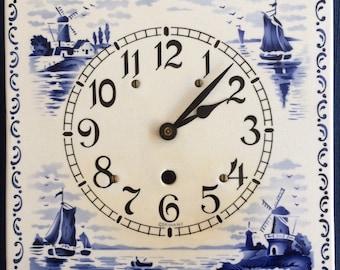 German Delft Wall Clock, Vintage, 1930s, Electric Clock, Blue, White, Porcelain Clock, Ceramic Clock