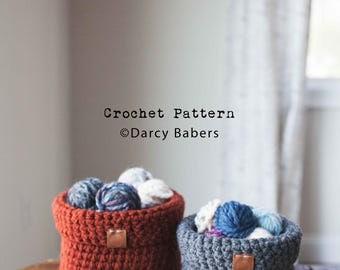 Crochet pattern // Foldover basket // Instant download
