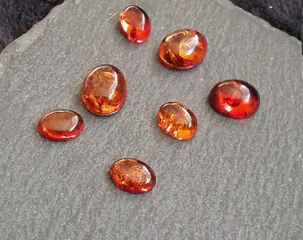 Natural Amber Gemstone Cabochons 8x6mm & 10x8mm