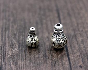 Sterling Silver Guru Bead, Sterling Silver Prayer Beads,three holes prayer beads, guru beads, prayer beads, Mala beads