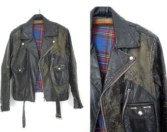 50's Leather Jacket / Black Motorcycle Jacket / vintage leather jacket / wild one jacket