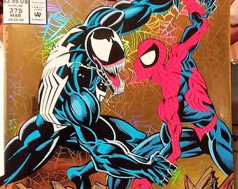 The amazing spiderman comic issue 375//holographic cover//gold foil cover//marvel comics//1992
