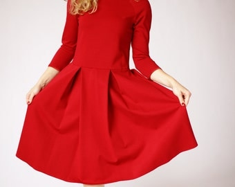 Long sleeve casual dress, red party dress, red formal dress, red casual dress, red midi dress, elegant occasion dress, fit and flare dress