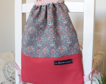 Child cord backpack. Victorian flowers collection