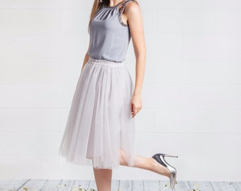 Silver tulle skirt; Light gray tulle skirt; Adult tutu skirt; Midi tulle skirt; Bridesmaids skirts; Bridesmaids dress; Womens tulle skirt;