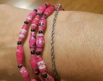 Pink Recycled Paper 3-pc set Bracelets