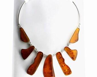 Large Gemstone Necklace, Cognac Amber Necklace, LUXURY NECKLACE, High Fashion Jewelry, Chunky Gemstone Necklace, Large Chunky Necklace, Jet