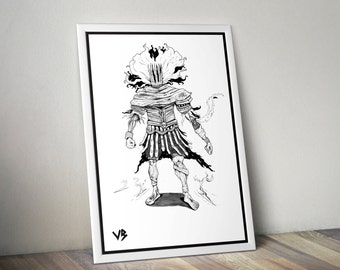 Dark Souls 3, Art Print, Nameless King, Dark Souls Poster, Dark Souls Art, Dark Souls Print, Black and White, Video Game Print, VillainBros