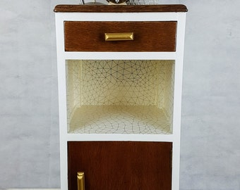 Bedside cabinet / Side table with geometric and gold details
