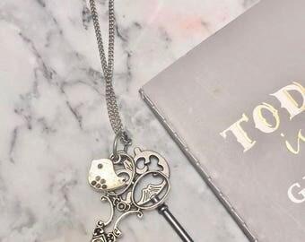Silver Rustic Vintage Scissor Bird Charm long necklace