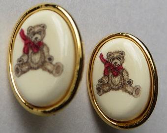Vintage Barlow Bear Earrings Vintage Costume Jewelry Earrings