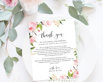 Wedding Thank You Letter / Wedding Thank You Note, Printable Thank You, Wedding Thank You - In Bloom