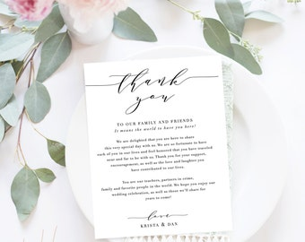 Wedding Thank You Letter / Wedding Thank You Note, Printable Thank You, Wedding Thank You - Modern Calligraphy