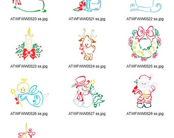 Christmas-Outline. ( 10 Machine Embroidery Designs from ATW )