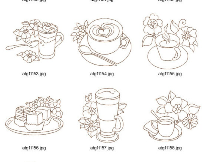 Redwork-Coffee ( 10 Machine Embroidery Designs from ATW )